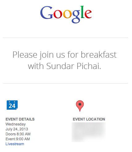 Google Event pour le 24 juillet