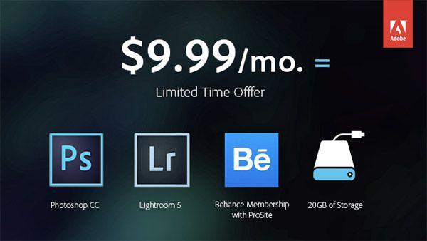 Photoshop et Lightroom pour 9,99$