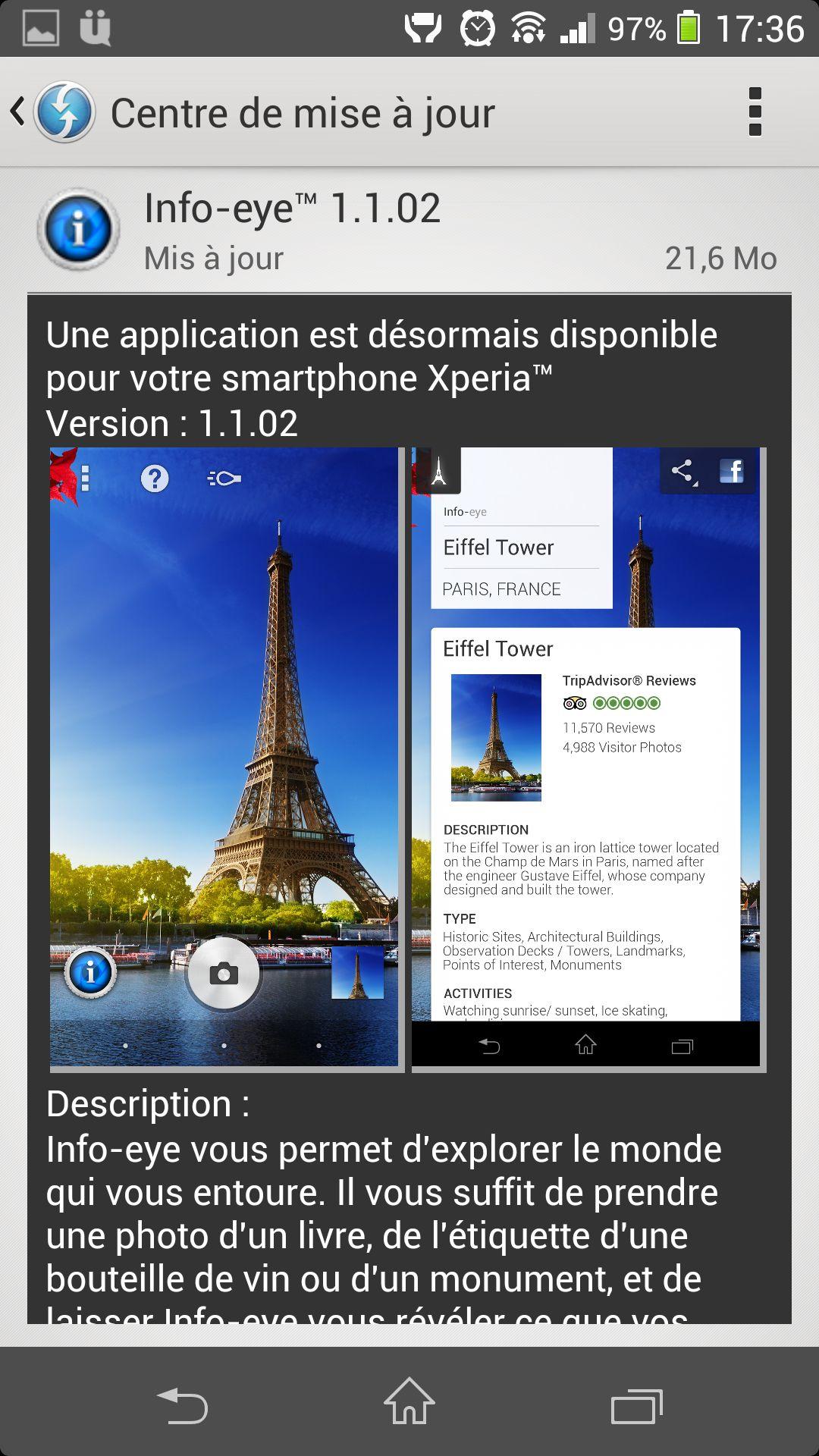 Une mise à jour pour l'application Info-Eye sur le Xperia Z1