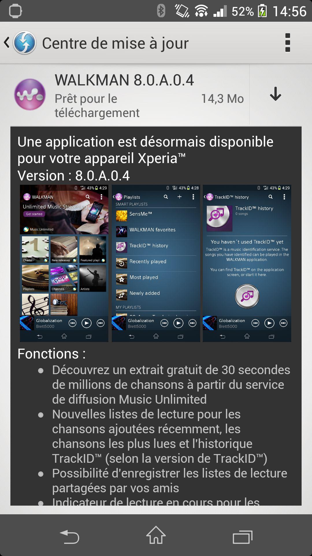 Une mise à jour de l'application Walkman pour les Sony Xperia