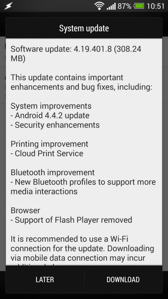 Android 4.4.2 en cours de déploiement pour le HTC One