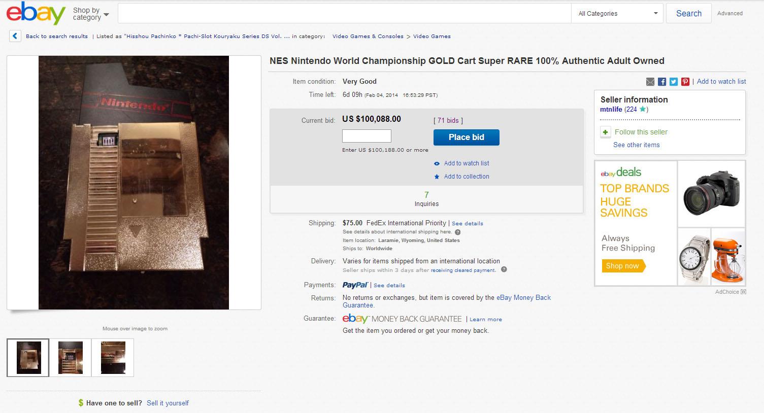 Une cartouche NES Nintendo World Championship aux enchères à plus de 100 000 dollars