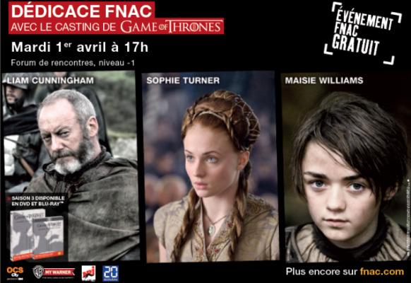 Trois acteurs de Game of Thrones en dédicace à la Fnac le 1er avril
