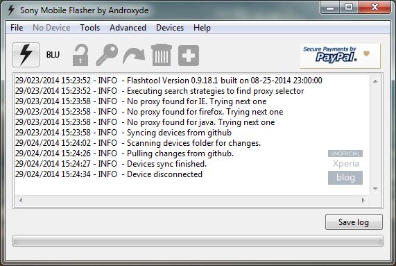 FlashTool permet de télécharger directement le firmware de votre Xperia