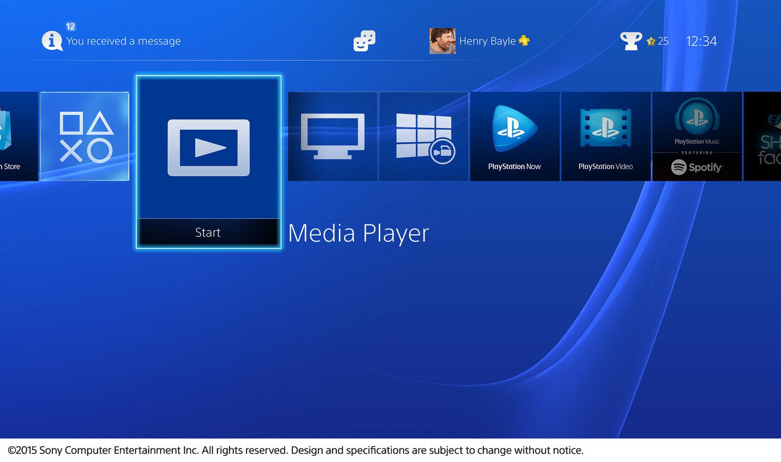 La Sony PS4 se dote d'un media player
