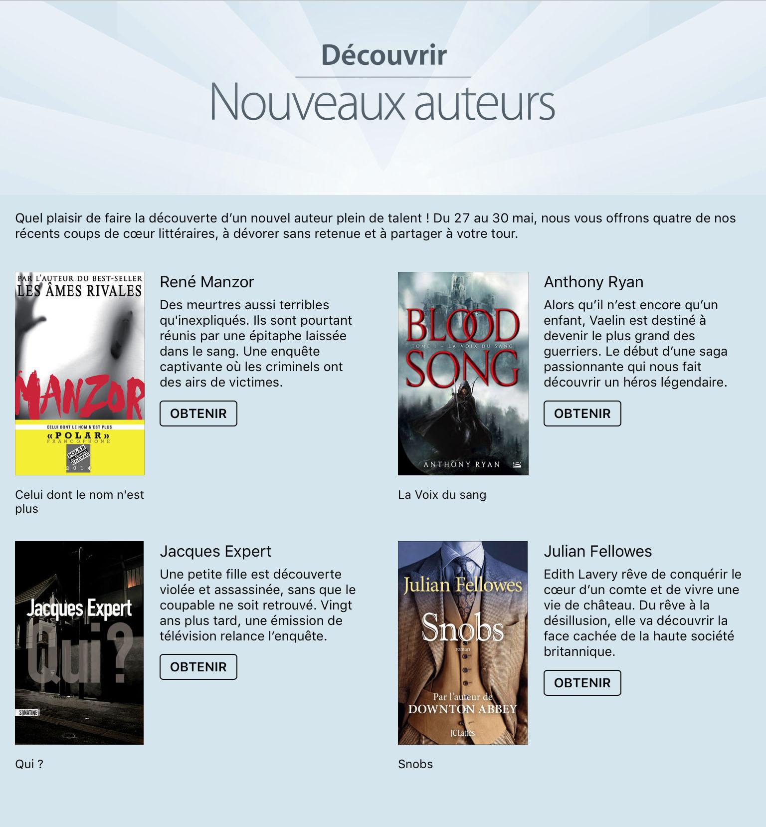 Quatre livres numériques offerts par Apple